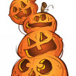 Pile of Pumpkin Jack O' Lanterns - Stock Vector