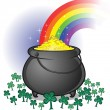 Stock Vector: Pot of Gold on Saint Patrick's Day