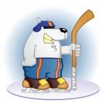 Polar Bear Hockey Player Cartoon — Stock Vector #12843255