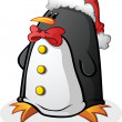 Penguin Cartoon Character in a Santa Hat for Christmas — Stock Vector