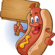 Hot Dog Cartoon Holding a Sign — Stock Vector