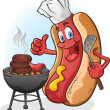Hot Dog Cartoon Grilling On A Barbecue - Stock Vector