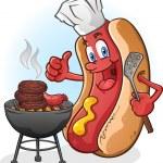 Hot-Dog-Cartoon auf einem Grill Grillen — Stockvektor