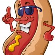 Stock Vector: Hot Dog Character with Attitude
