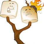 Toasted Marshmallow Cartoon Characters — Stock Vector #12843300