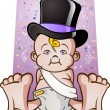 Cute New Years Eve Baby Cartoon Character in a Top Hat — Stock Vector