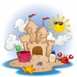 Beach With Sand Castle — Stock Vector
