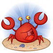 Crab Cartoon On The Beach — Stock Vector