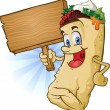Burrito Character Holding Wooden Sign - Stock Vector