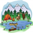 Stock Vector: Camping In Woods