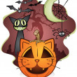 Stock Vector: Halloween Cat Pumpkin and Friends