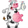 Dairy Cow Character Drinking Milk — Stock Vector