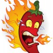 Flaming Hot Chili Pepper Cartoon Character — Stock Vector