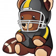 Stock Vector: Football Teddy Bear Cartoon Character