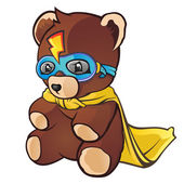Super Hero Teddy Bear Cartoon — Stock Vector