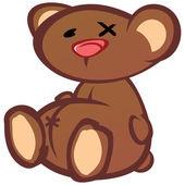 Alte verprügeln teddybär-cartoon — Stockvektor
