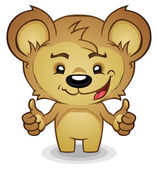 Teddy Bear Cartoon Thumbs Up — Stock Vector