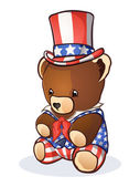 Uncle Sam Teddy Bear Cartoon Character — Stock Vector