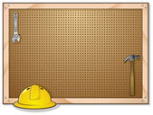 Peg Board Cartoon With Hard Hat and Tools — Stock Vector