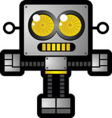 Retro Futuristic Robot Toy Cartoon Character — Stock Vector