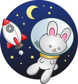 Space Bunny Cartoon Character In A Toy Rocket Ship — Stock Vector