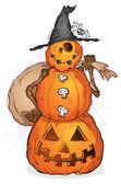Pumpkin Scarecrow on Halloween — Stock Vector