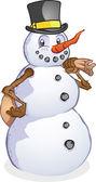 Bonhomme de neige avec le personnage de dessin animé pour le sac du père noël — Vecteur