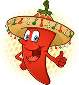 Sombrero Hot Chili Pepper Thumbs Up Cartoon Character — Stock Vector