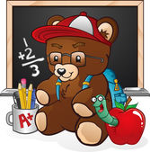 Teddy Bear Cartoon Back To School — Stock Vector