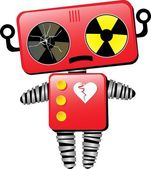 Sad Broken Toy Robot Cartoon Character — Stock Vector