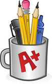 Mug of Pencils Pens Crayons and Markers Cartoon — Stock Vector