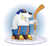 Polar Bear Hockey Player Cartoon — Stock Vector