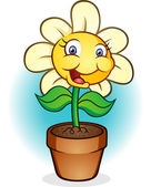 Smiling Potted Flower Cartoon — Stock Vector