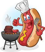 Cartone animato cane caldo cuocere sul barbecue — Vettoriale Stock
