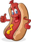 Hot Dog Character Giving Thumbs Up — Stock Vector