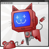 Computer Cat And Mouse In An Internet Browser — Stock Vector