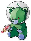 Alien Teddy Bear Cartoon Character — Stock Vector