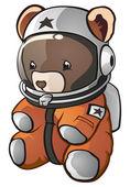 Teddy Bear Astronaut Cartoon Character — Stock Vector