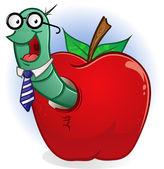 Book Worm In Apple — Stock Vector