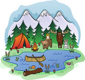Camping In The Woods — Stock Vector