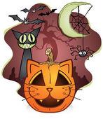 Halloween Cat Pumpkin and Friends — Stock Vector