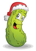 German Christmas Pickle Legend Cartoon Character — Stock Vector