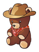 Cowboy Teddy Bear Cartoon Character — Stock Vector