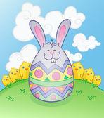 Easter Bunny Egg Cartoon Character — Stock Vector