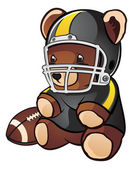Football Teddy Bear Cartoon Character — Stock Vector
