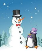 Snowman And Penguin in Formal Clothes — Stock Vector