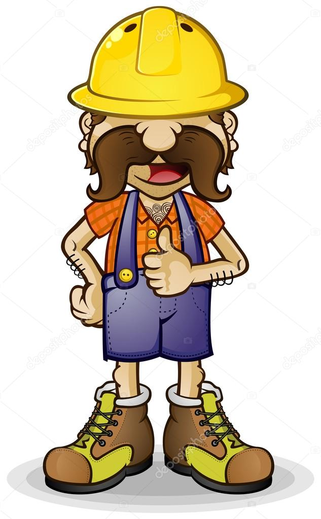 Construction Worker Cartoon Character Thumbs Up — Stock ...