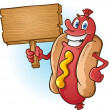 Stock Vector: Hot Dog Cartoon Holding Blank Wooden Sign