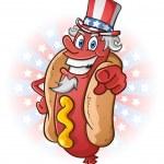 Постер, плакат: Uncle Sam Hot Dog Cartoon Character