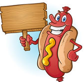 Hot Dog Cartoon Holding a Blank Wooden Sign — Stock Vector